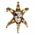 Máscara Cênica San Polo Dourado/Roxo de Parede em Papel Machê - 42x20 cm