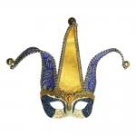 Máscara Cênica Santa Croce Dourada/Azul de Parede em Papel Machê - 24x20 cm