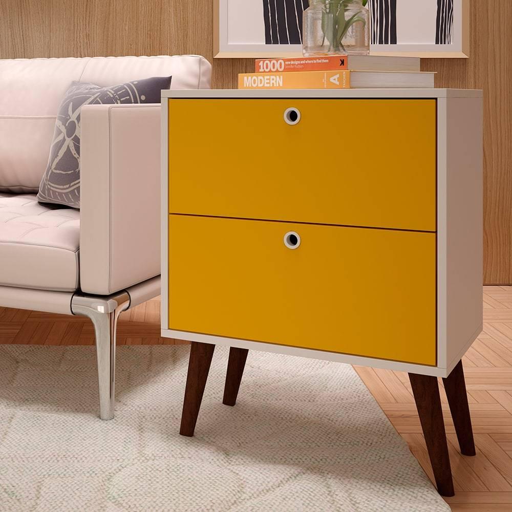 Mesa de Apoio BPP 02-142 Branco/Amarelo - 2 Gavetas - em MDP - 69,5x53,5 cm