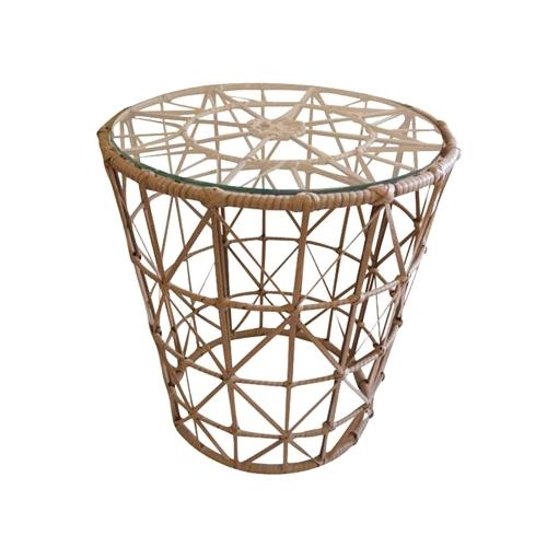 Mesa Auxiliar Pequena Tampo de Vidro em Fibra Sintética - 53x50 cm