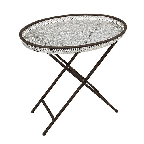 Mesa Bali Oval em Metal e Ferro - 60x50 cm