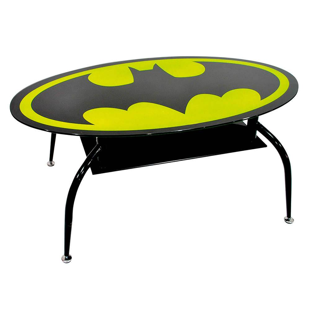 Mesa de Centro DC Comics Batman Oval em Metal e Vidro - Urban - 110x60 cm
