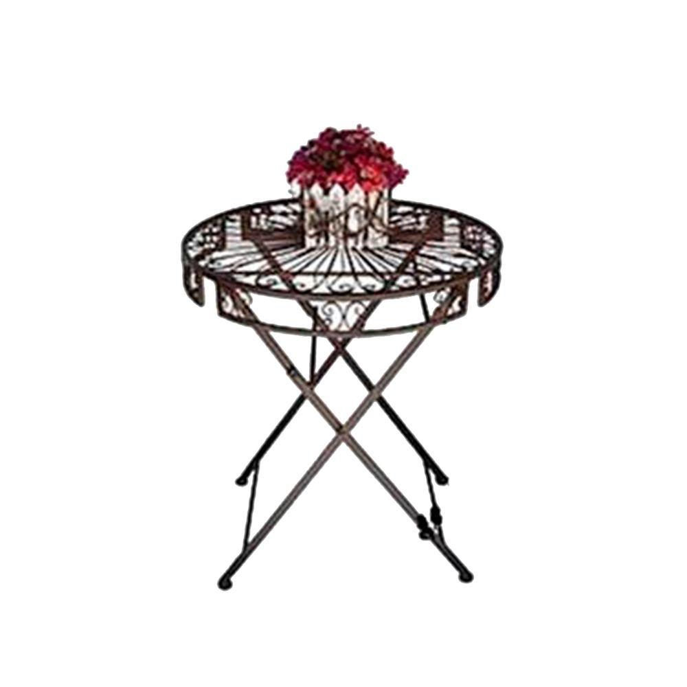 Mesa Classic Dobrável Tampo em Arabescos Vazados Redonda Marrom em Ferro - 72x65 cm
