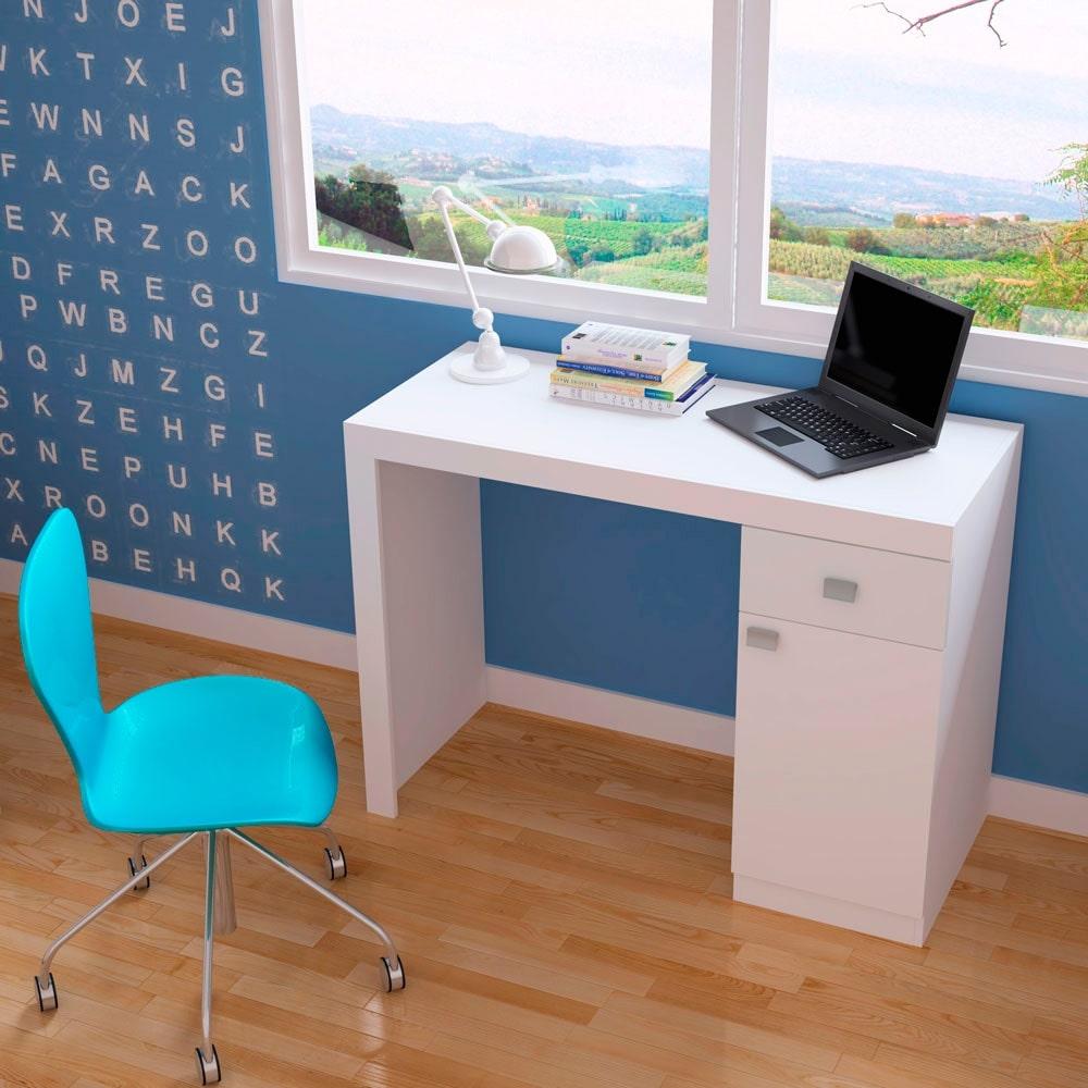 Mesa para Computador BC 35-06 Branco - com 1 Porta e 1 Gaveta - em MDP - 110x81 cm