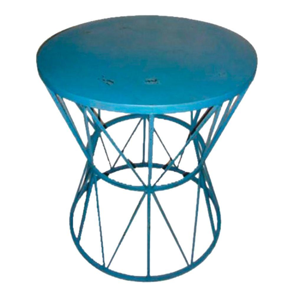 Mesa Lateral Azul Detalhes c/ Raios e Desgastado Chic em Ferro - 67,5x59 cm