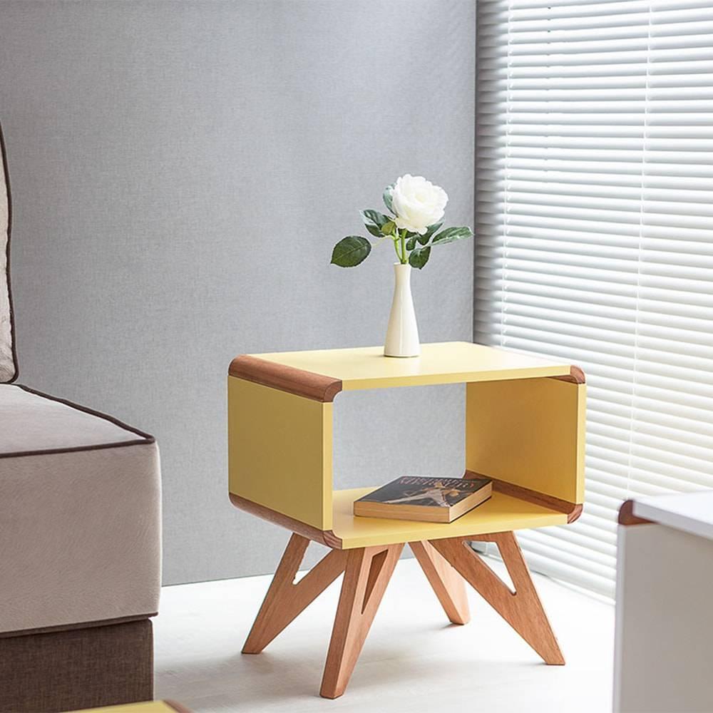 Mesa Lateral Baixa / Criado-Mudo Presley Amarelo em MDF - 50x46 cm