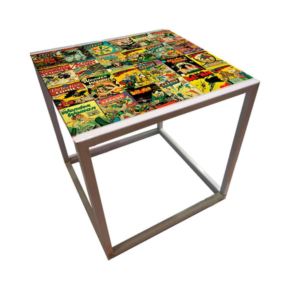 Mesa Lateral DC Comics Capas Quadrinhos Colorida em Metal - Urban - 56x56 cm