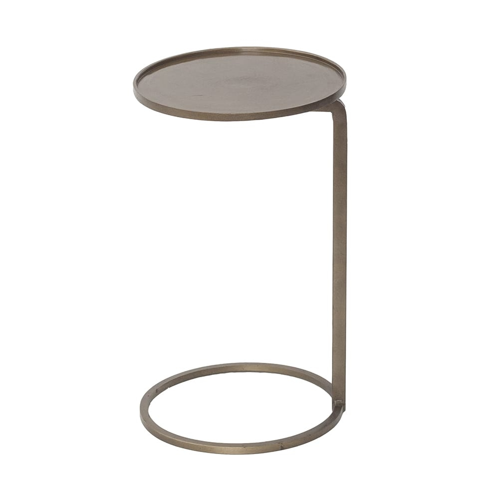 Mesa Lateral Gordon Dourada Redonda em Ferro - 50x30 cm