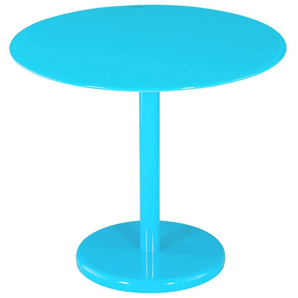 Mesa Lateral Round Azul em Metal e Vidro - Urban - 50x44,5 cm