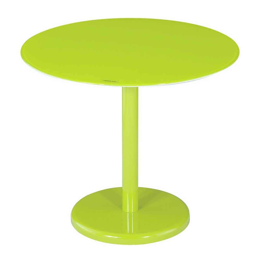 Mesa Lateral Round Verde em Metal e Vidro - Urban - 50x44,5 cm