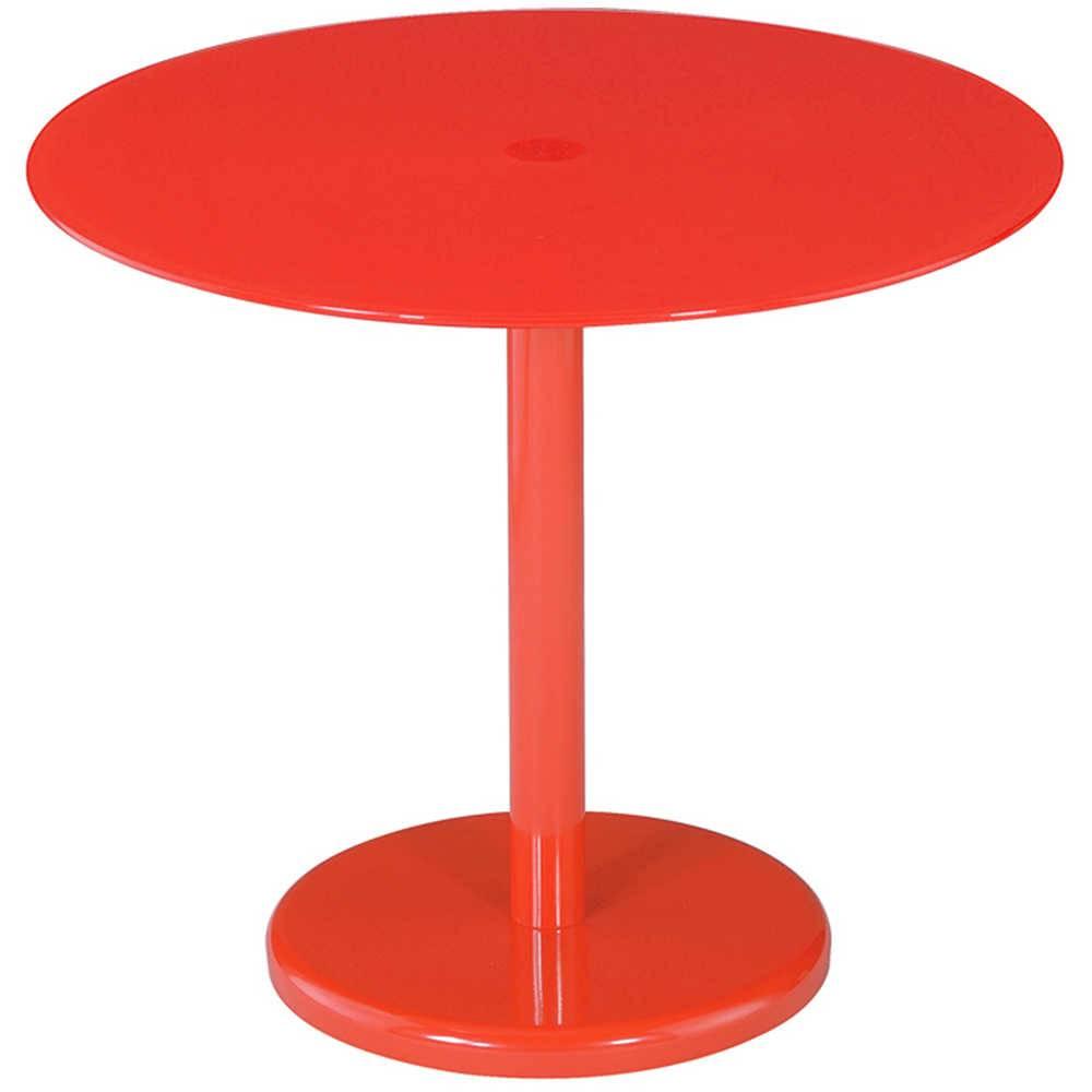 Mesa Lateral Round Vermelha em Metal e Vidro - Urban - 50x44,5 cm