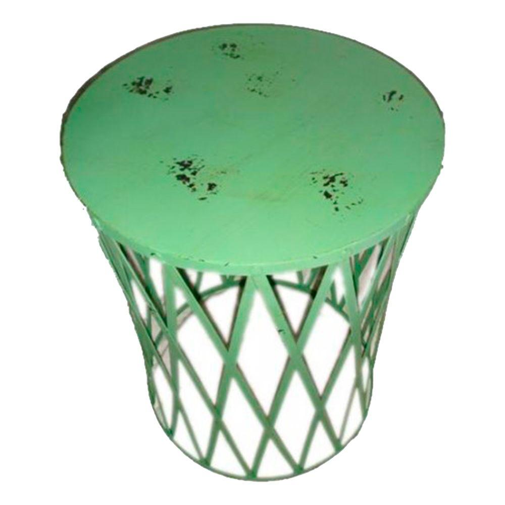 Mesa Lateral Tambor Trançado Verde c/ Desgastado Chic em Ferro - 54x38,5 cm