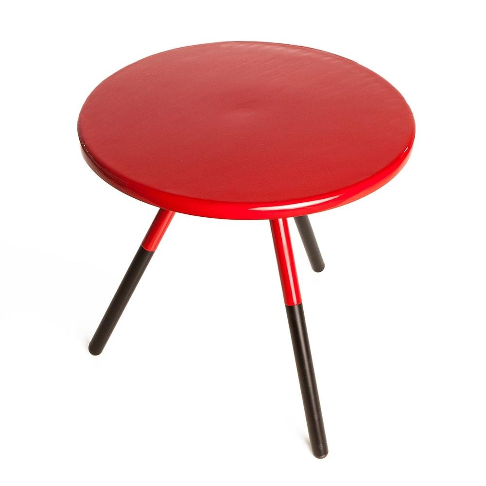 Mesa Lateral Tifani Vermelha Redonda em Ferro - 47x46 cm