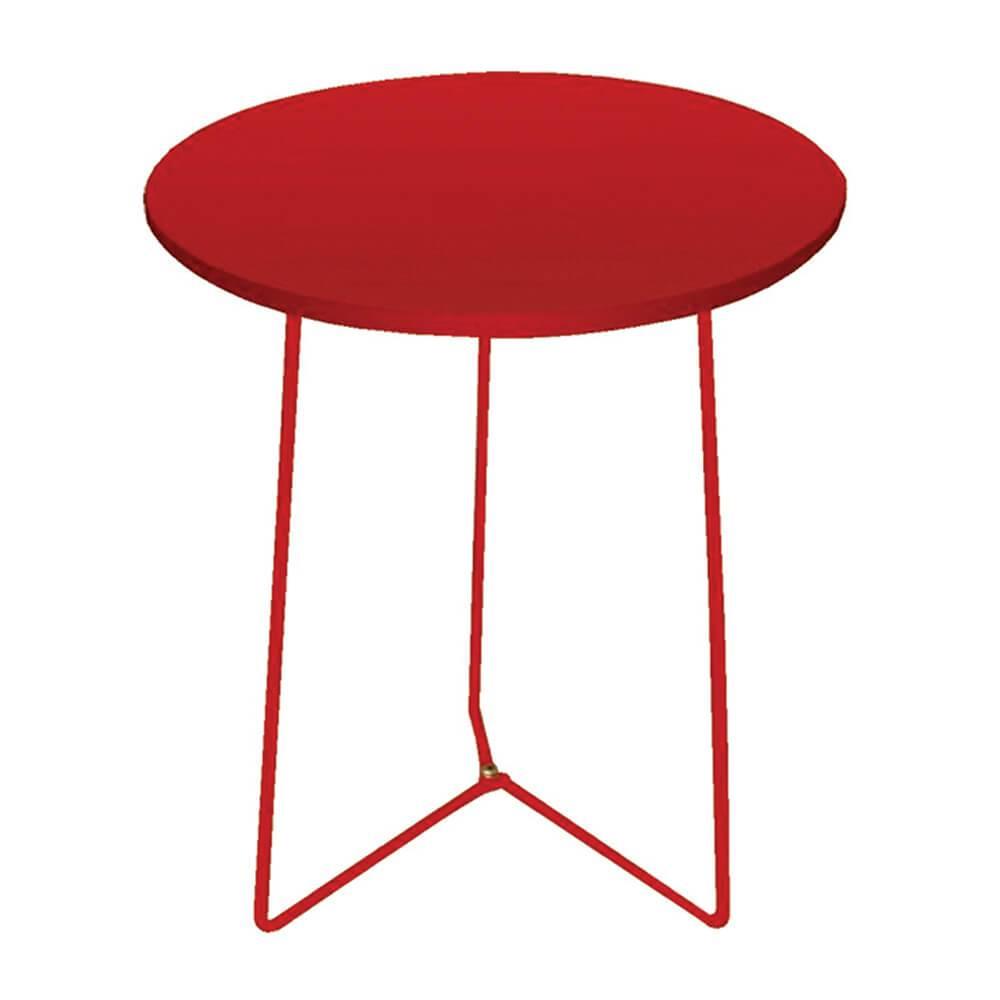 Mesa Lateral Triangle Feet Vermelha em Metal - Urban - 43,5x40 cm