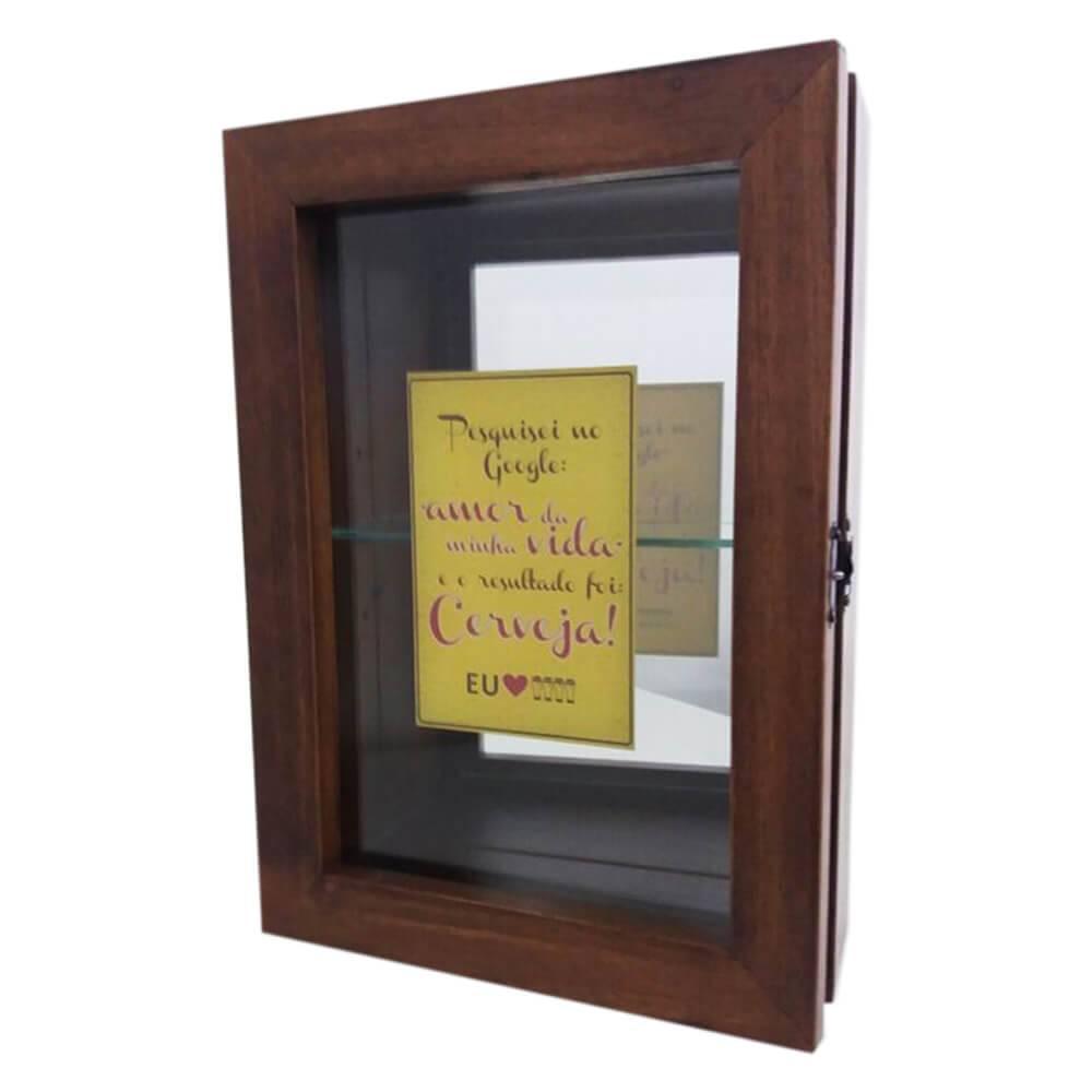 Mini Cristaleira Pesquisa Google com Impressão Digital em Vidro e MDF - 35x25 cm