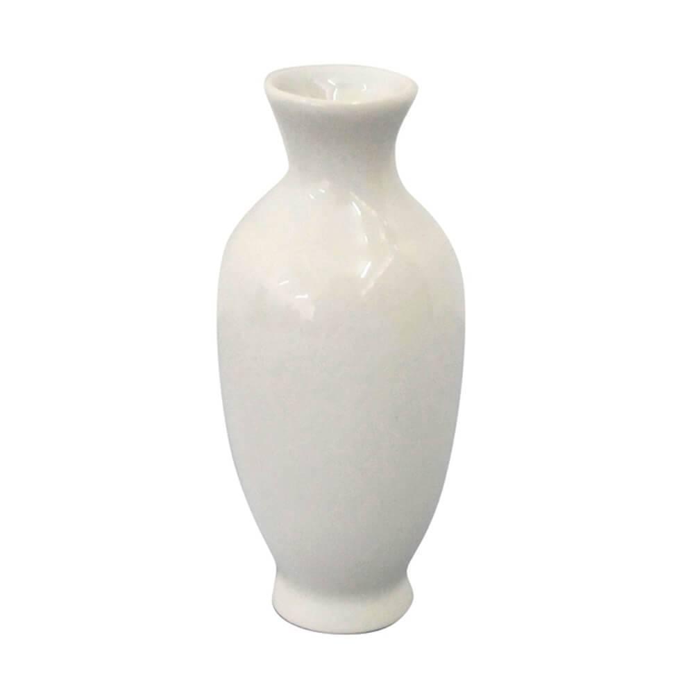 Mini Vaso Tiny Neck Branco Brilhante em Cerâmica - Urban - 10x4,5 cm