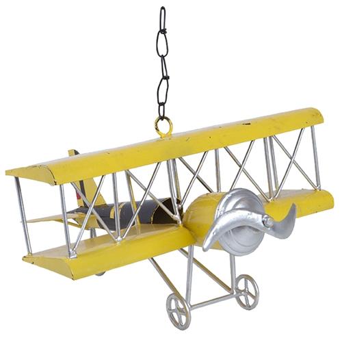 Miniatura de Avião Antique Amarelo em Metal - 29x17 cm