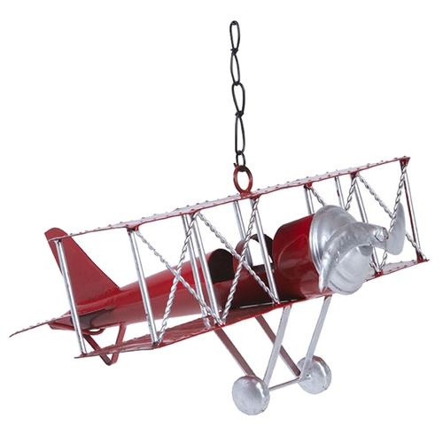 Miniatura Avião Antique Vermelho em Metal - 29x13 cm