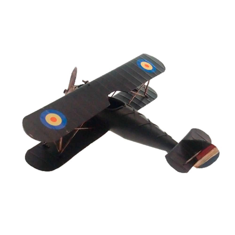 Miniatura Avião Asa Dupla Preto em Metal - 30x25 cm