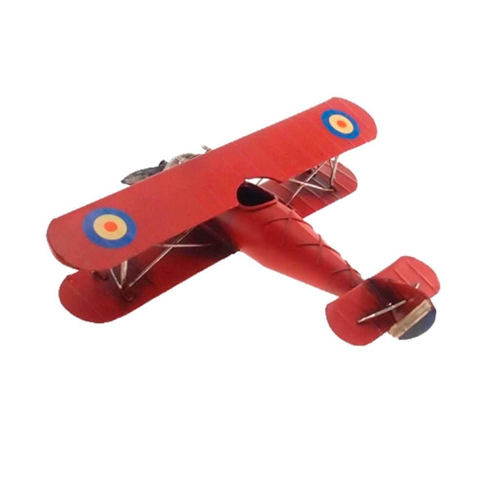 Miniatura Avião Asa Dupla Vermelho em Metal - 30x25 cm