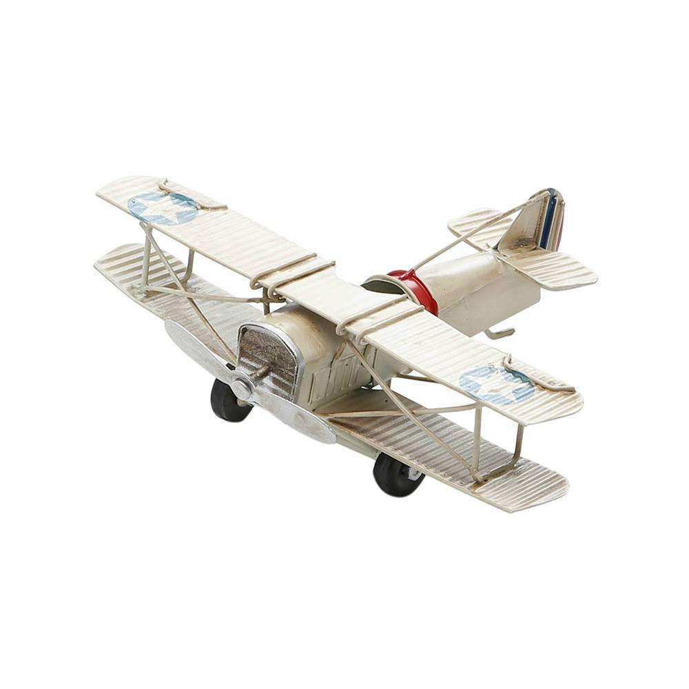 Miniatura de Avião Asa Estrela Branco em Ferro - 17x13 cm