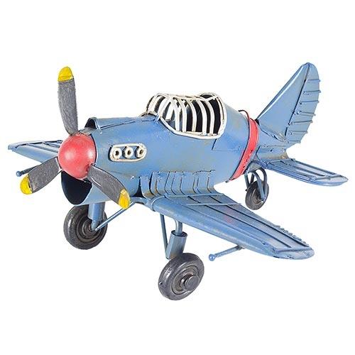 Miniatura Avião Azul em Metal Oldway - 16x16cm