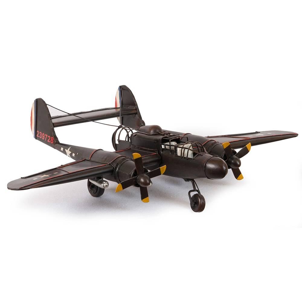 Miniatura Avião Bimotor Militar Modelo P-61 Black Widow em Ferro - 50x38 cm
