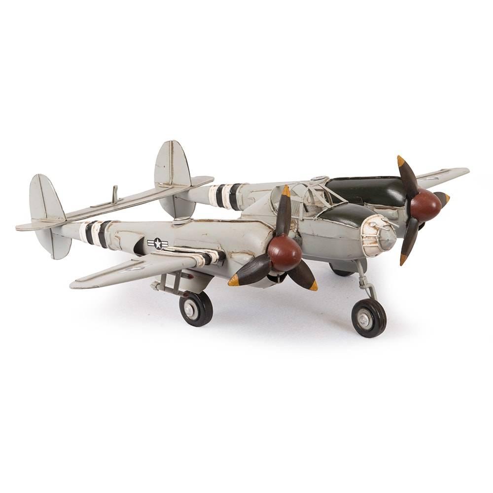 Miniatura Avião Bimotor Modelo P-38 The Black Widow Lightning World em Ferro - 46x35 cm
