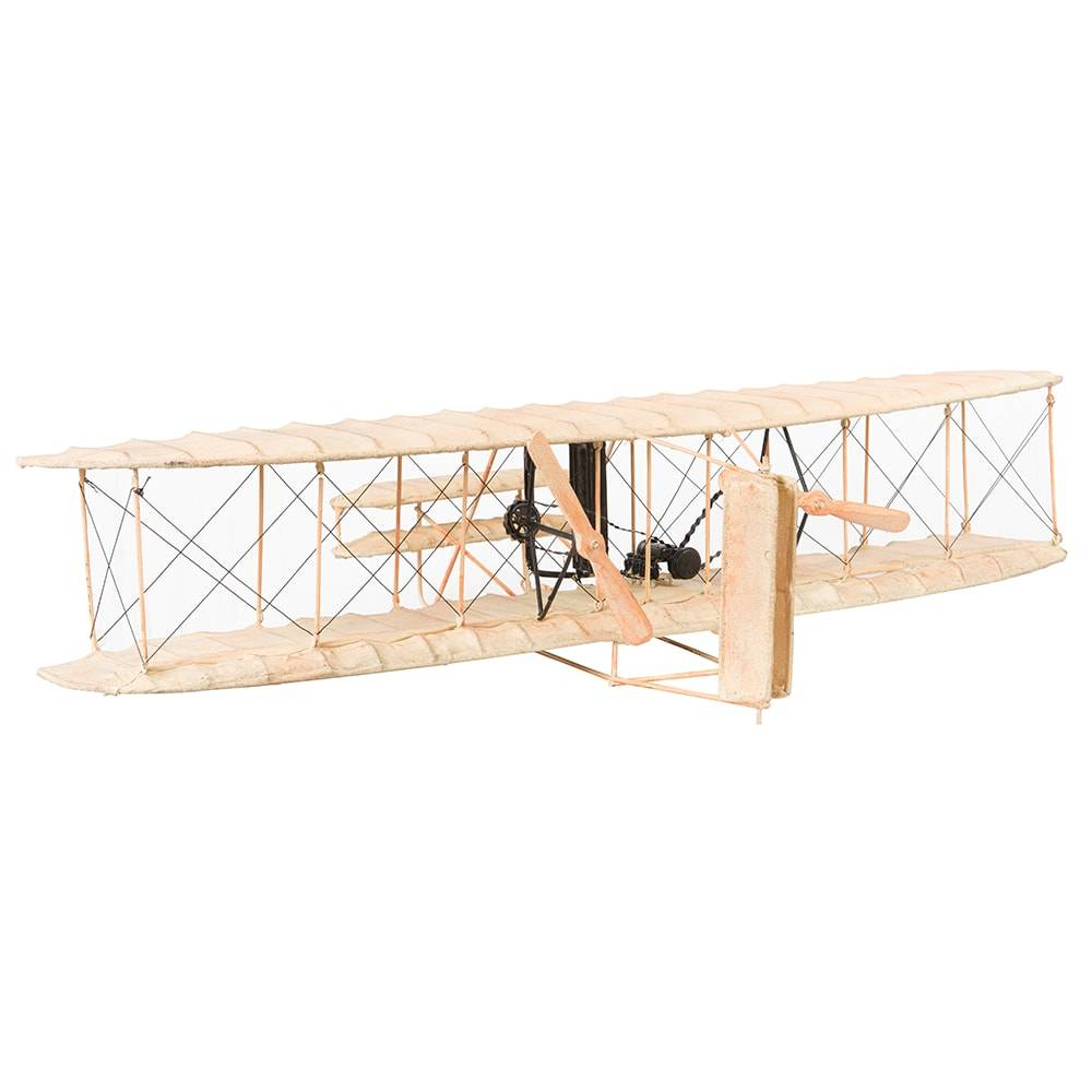 Miniatura Avião Biplano Modelo 1903 White Wright Brother Flyer em Ferro - 80x43 cm