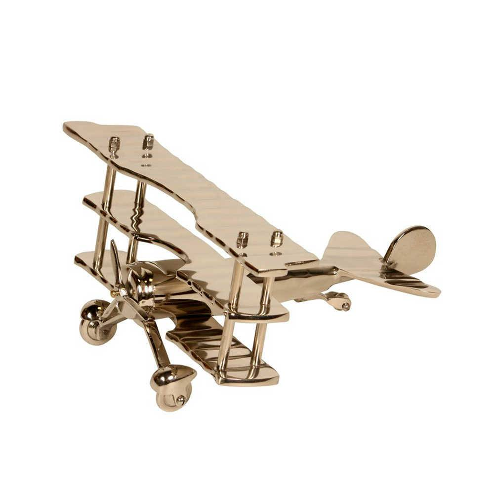 Miniatura de Avião Prata em Metal Banhado a Níquel - 32x17 cm