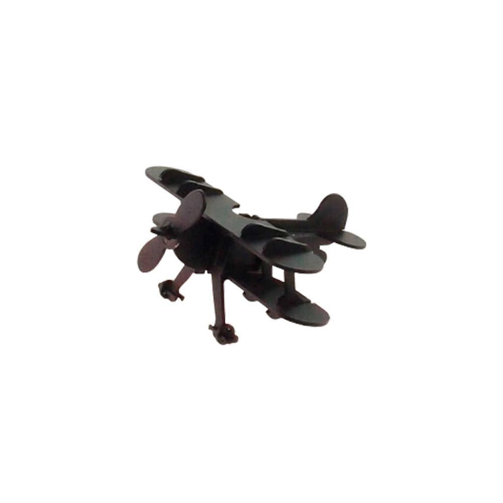 Miniatura de Avião Preto Fosco em Metal - 16x16 cm