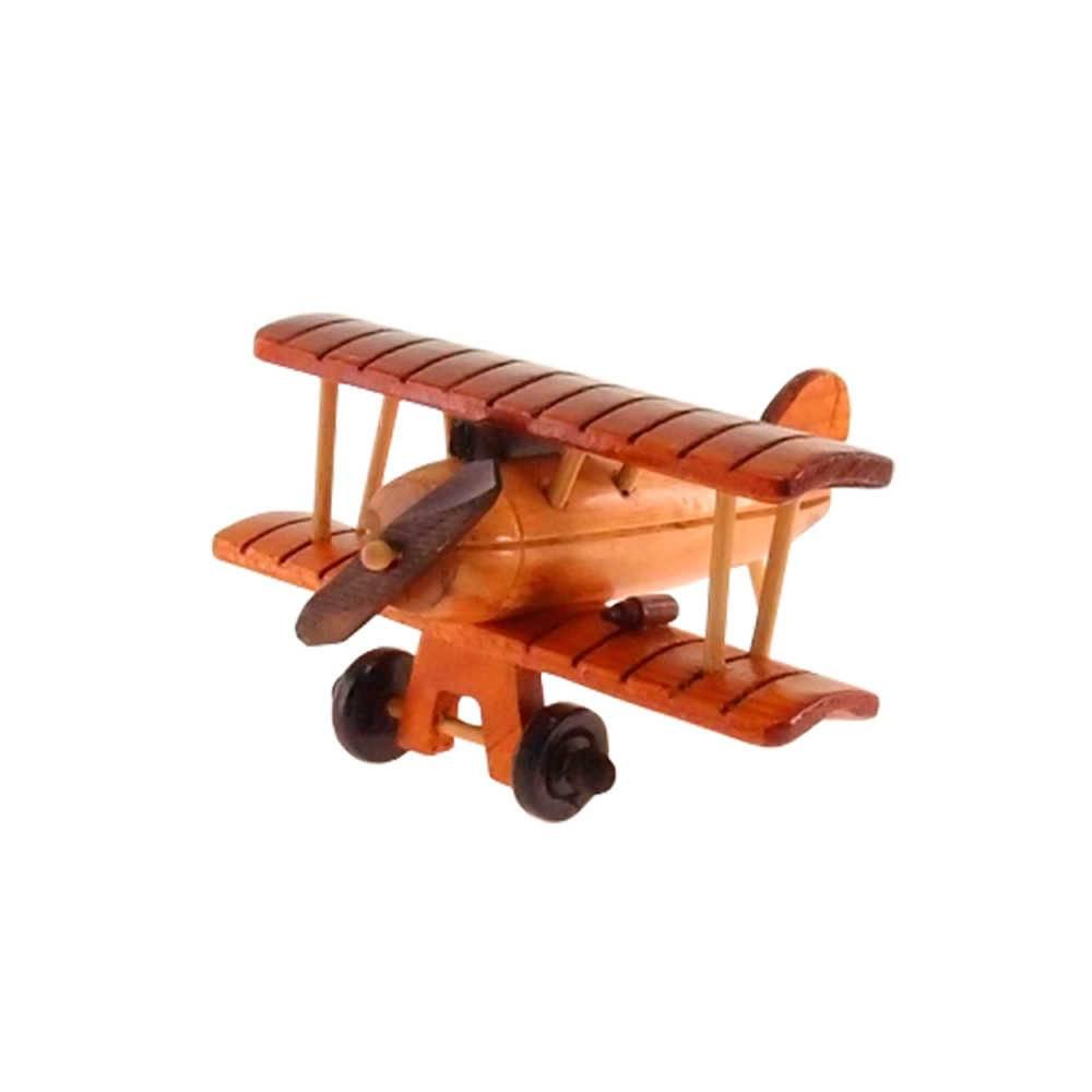 Miniatura de Avião Retrô em Madeira - 15x15 cm