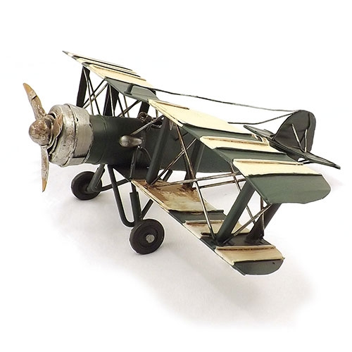 Miniatura de Avião Verde / Branco - Em Metal - 33x10 cm