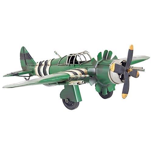 Miniatura Avião Verde c/ Listras Oldway - Metal - 41x36cm