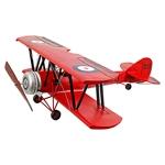 Miniatura Avião Vermelho Asas Duplas Oldway - 97x94 cm