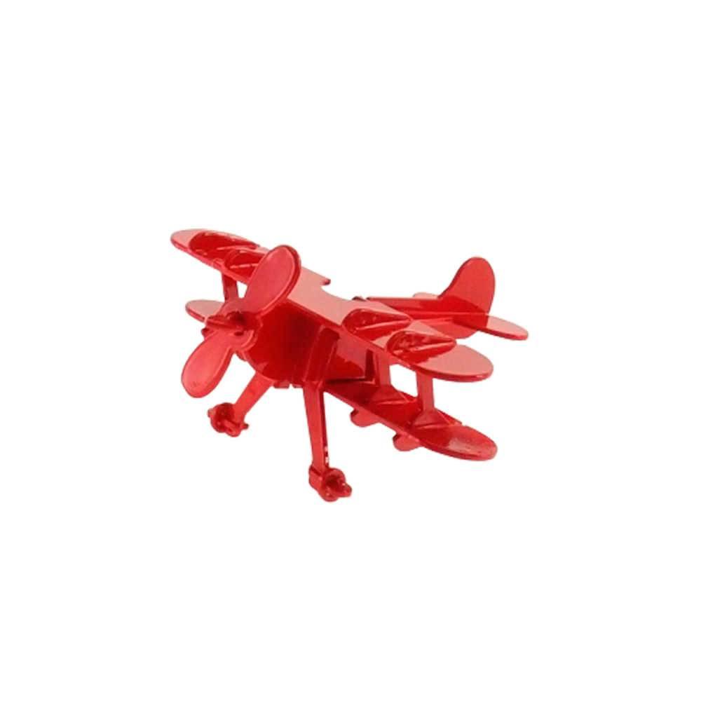 Miniatura de Avião Vermelho em Metal - 16x16 cm