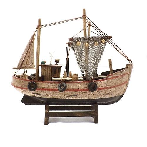 Miniatura de Barco - Em Madeira - 22x18 cm