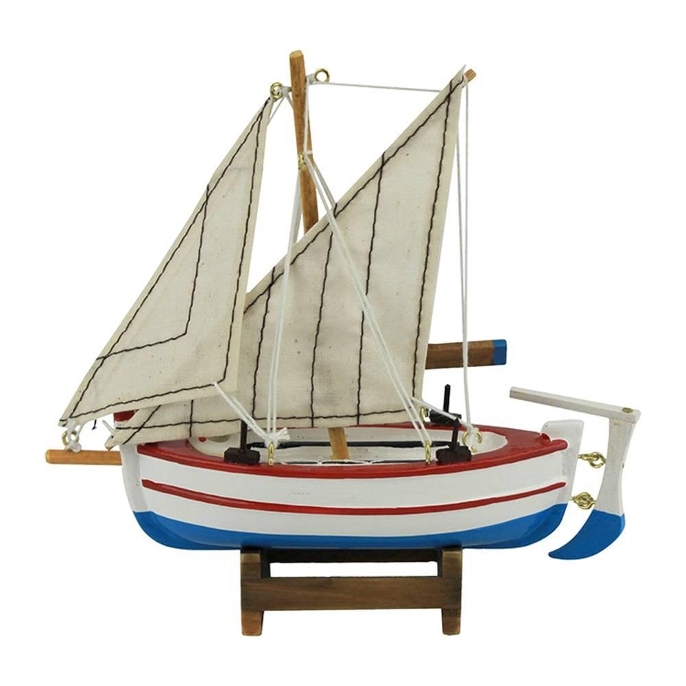 Miniatura Barco de Pesca Argus Branco em Madeira - 16x15 cm