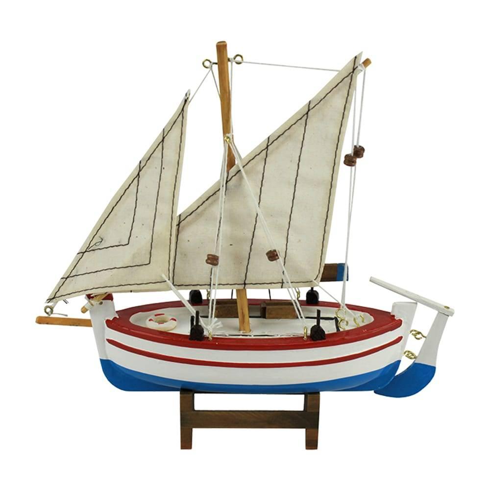 Miniatura Barco de Pesca Argus Branco em Madeira - 20x19 cm