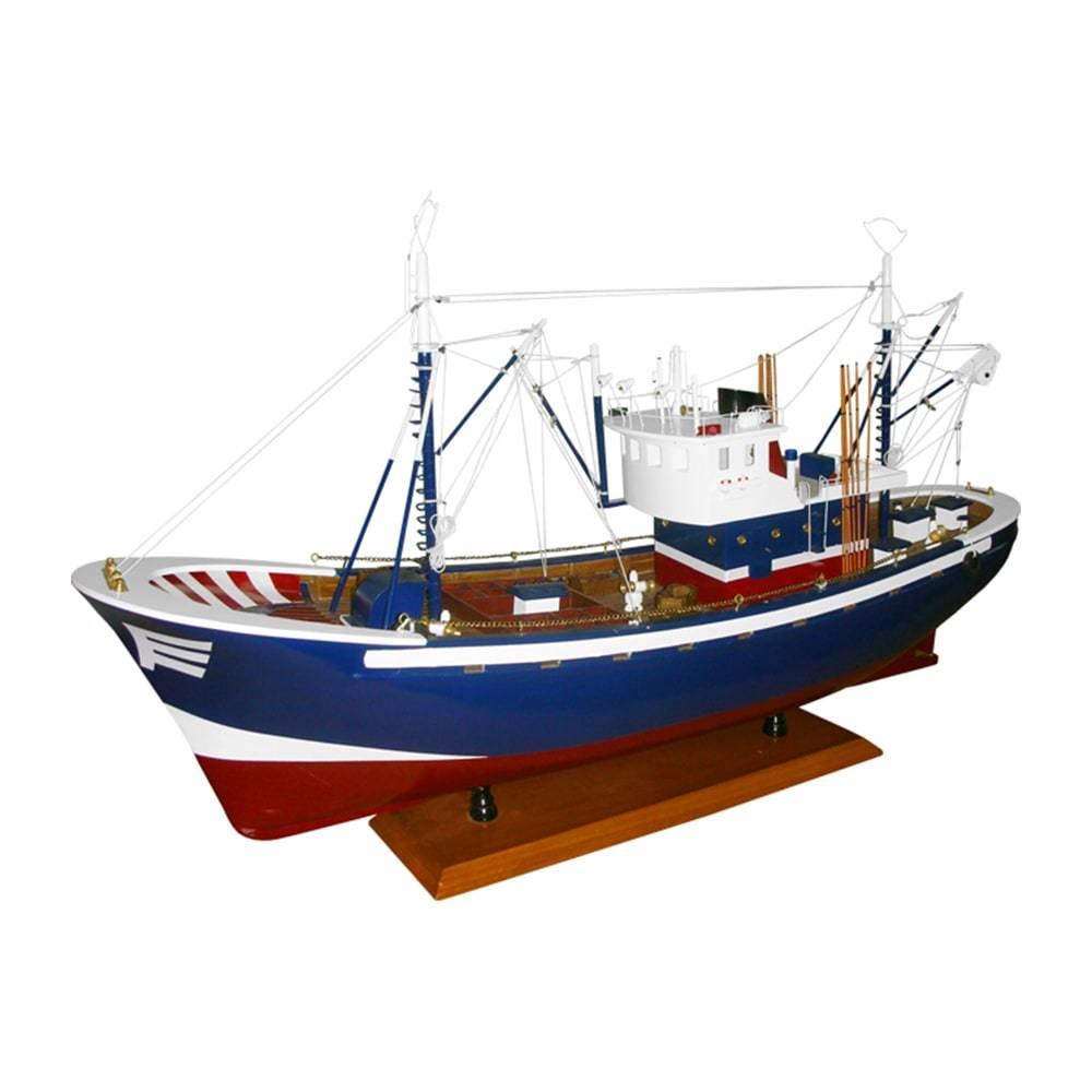 Miniatura Barco de Pesca Carmen II Azul em Madeira - 85x72 cm