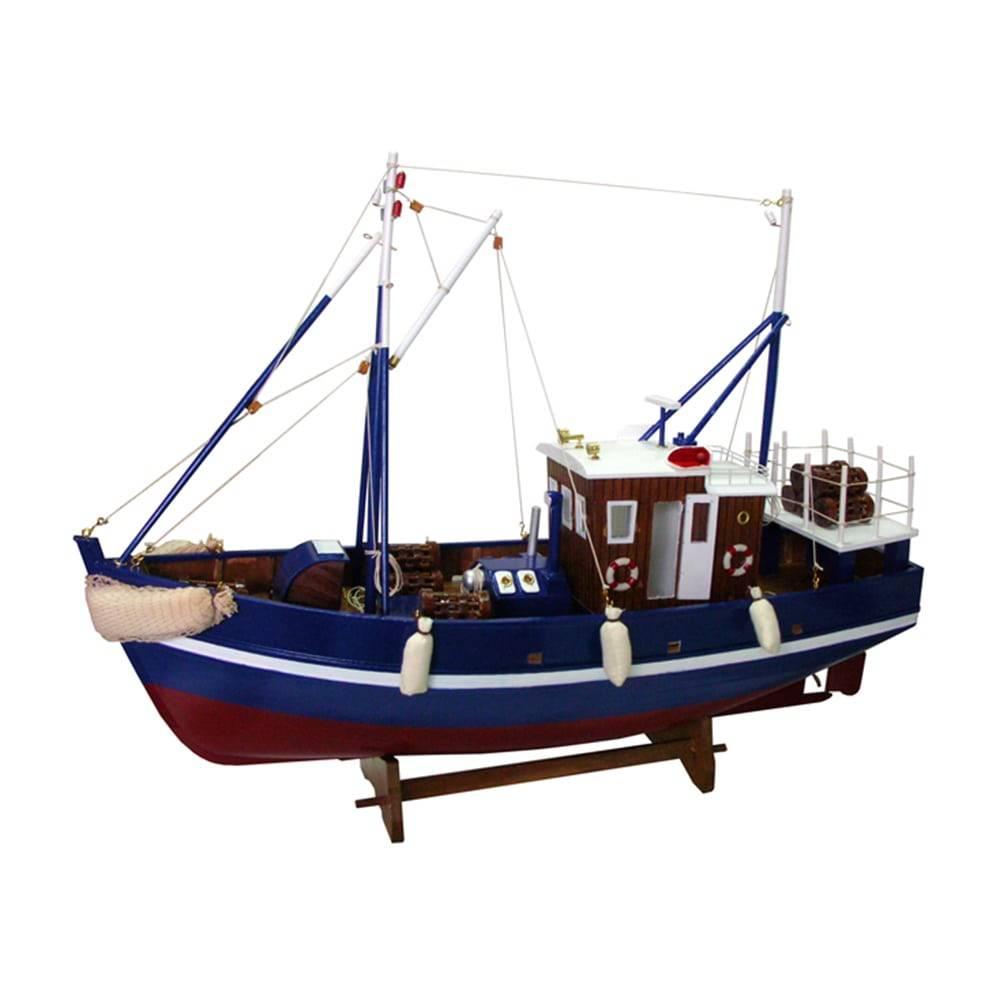 Miniatura Barco de Pesca Neptuno Azul em Madeira - 60x45 cm