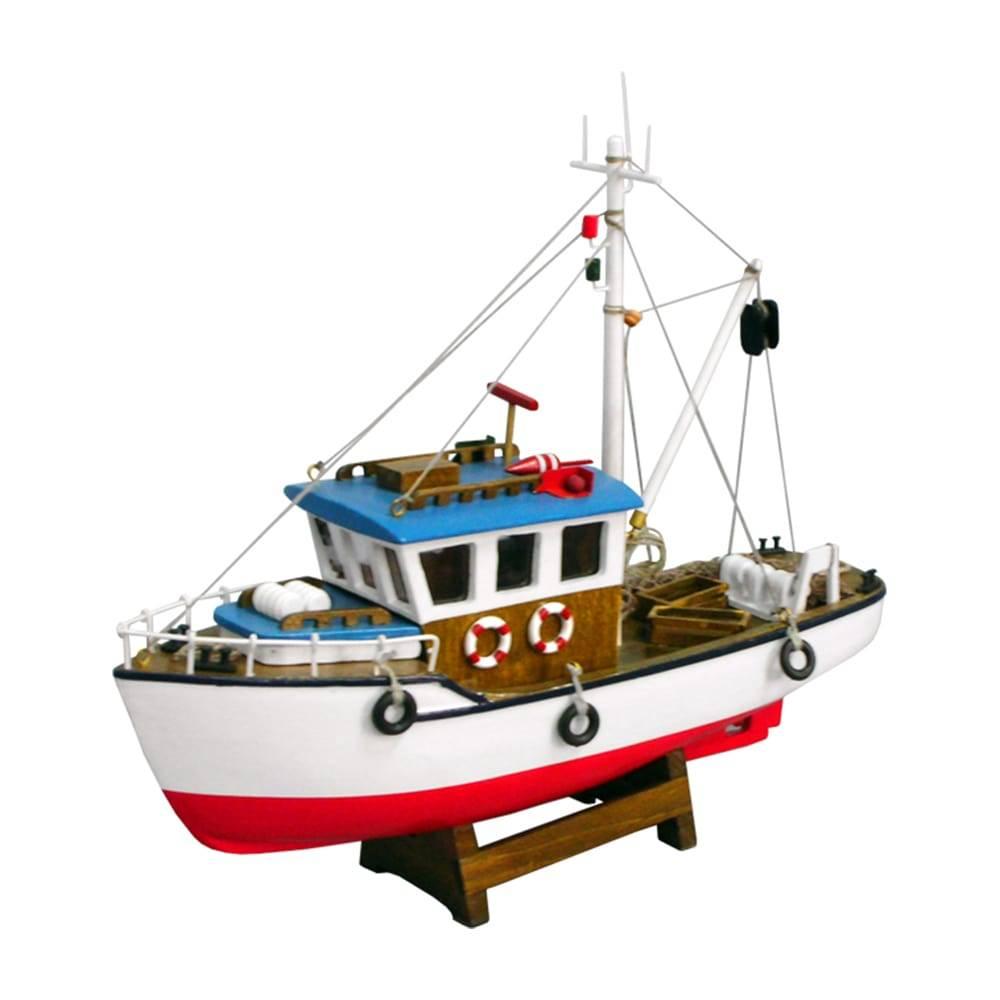 Miniatura Barco de Pesca Pacific Azul/Vermelho em Madeira - 40x40 cm