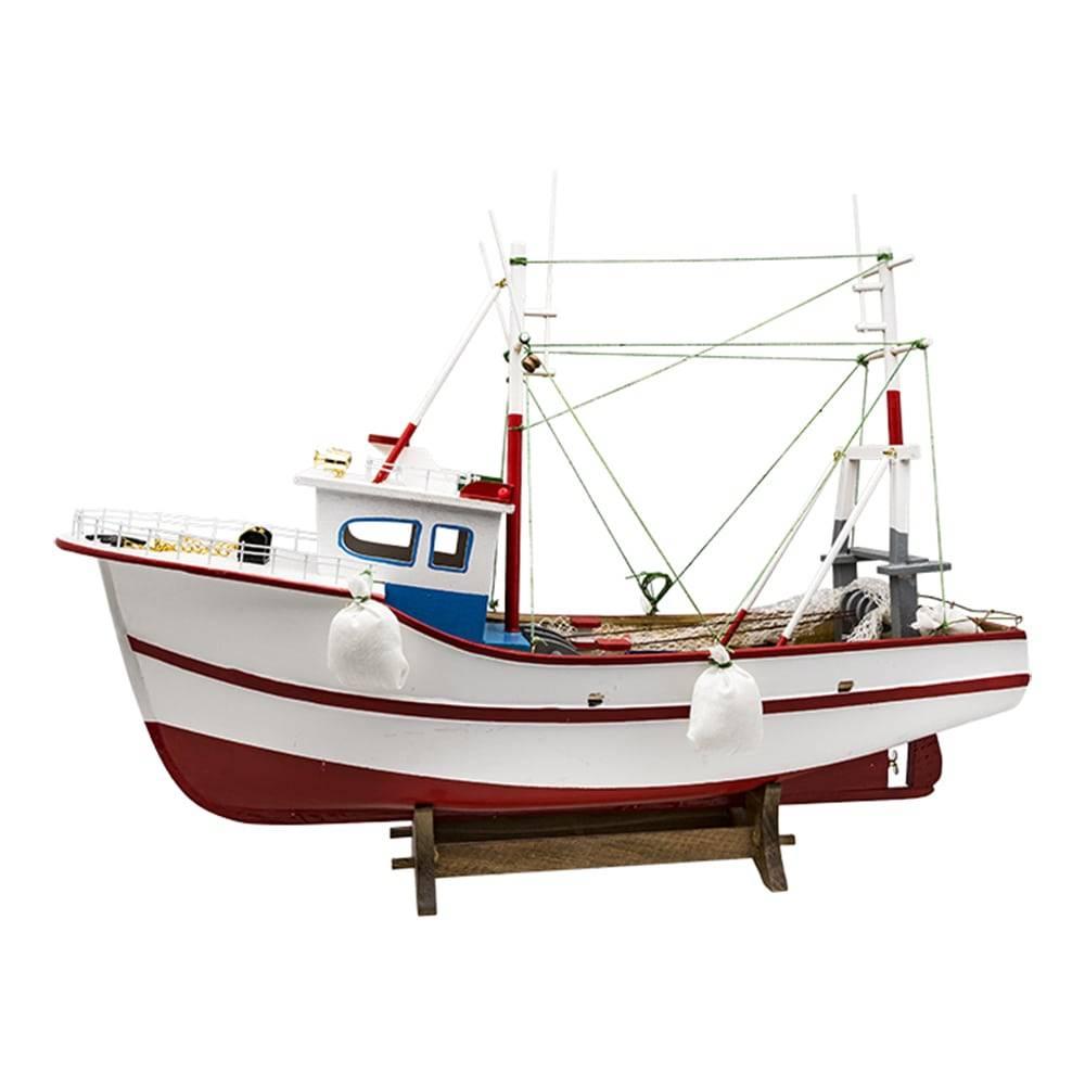 Miniatura Barco de Pesca Pelicano Branco em Madeira - 50x40 cm
