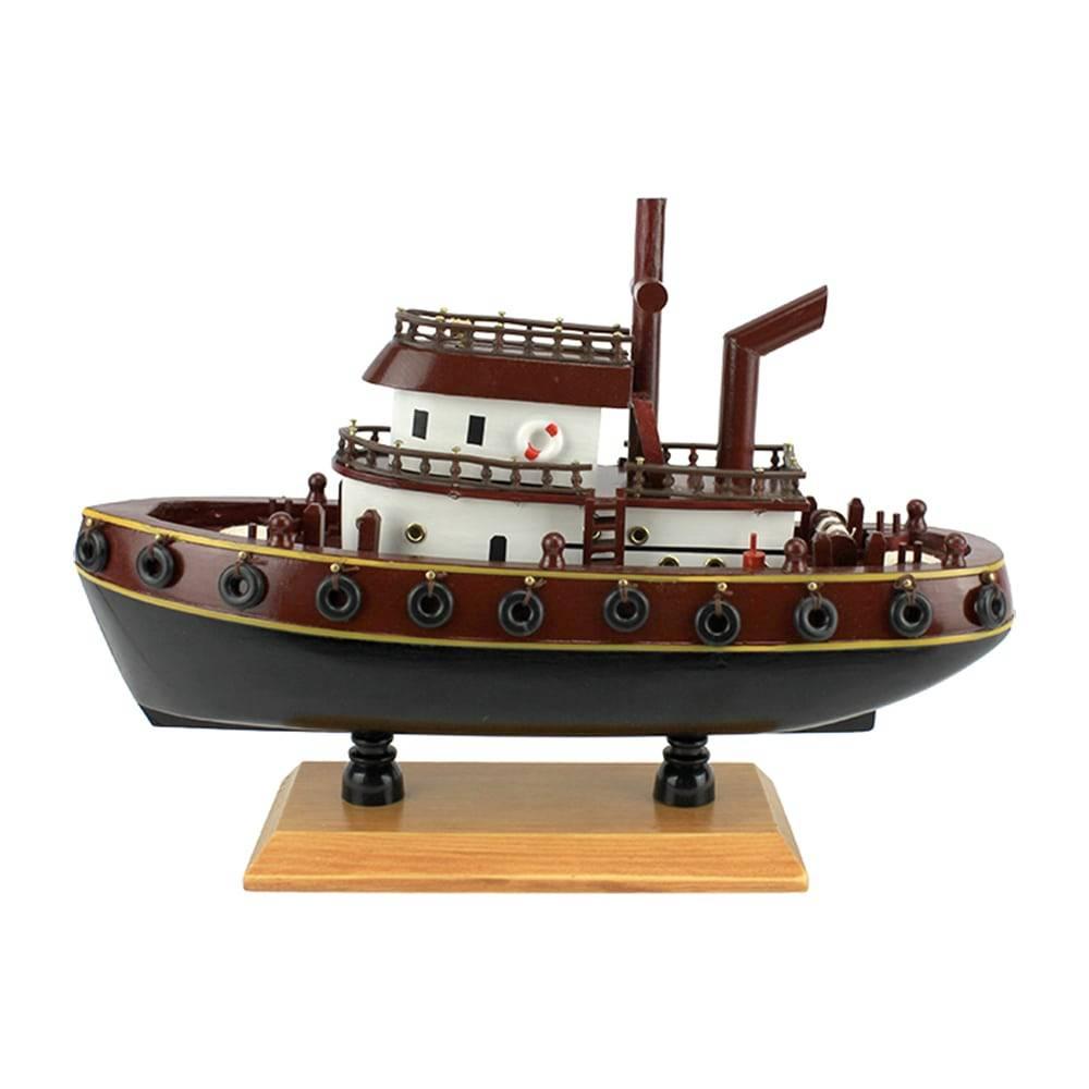 Miniatura Barco Rebocador Marrom/Azul em Madeira - 32x23 cm