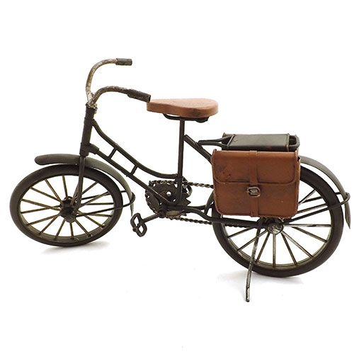 Miniatura de Bicicleta com 2 Bolsas na Parte de Trás Oldway - Em Metal - 30x19 cm