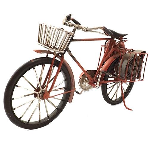 Miniatura de Bicicleta de Bombeiros Oldway - Em Metal - 29x17 cm