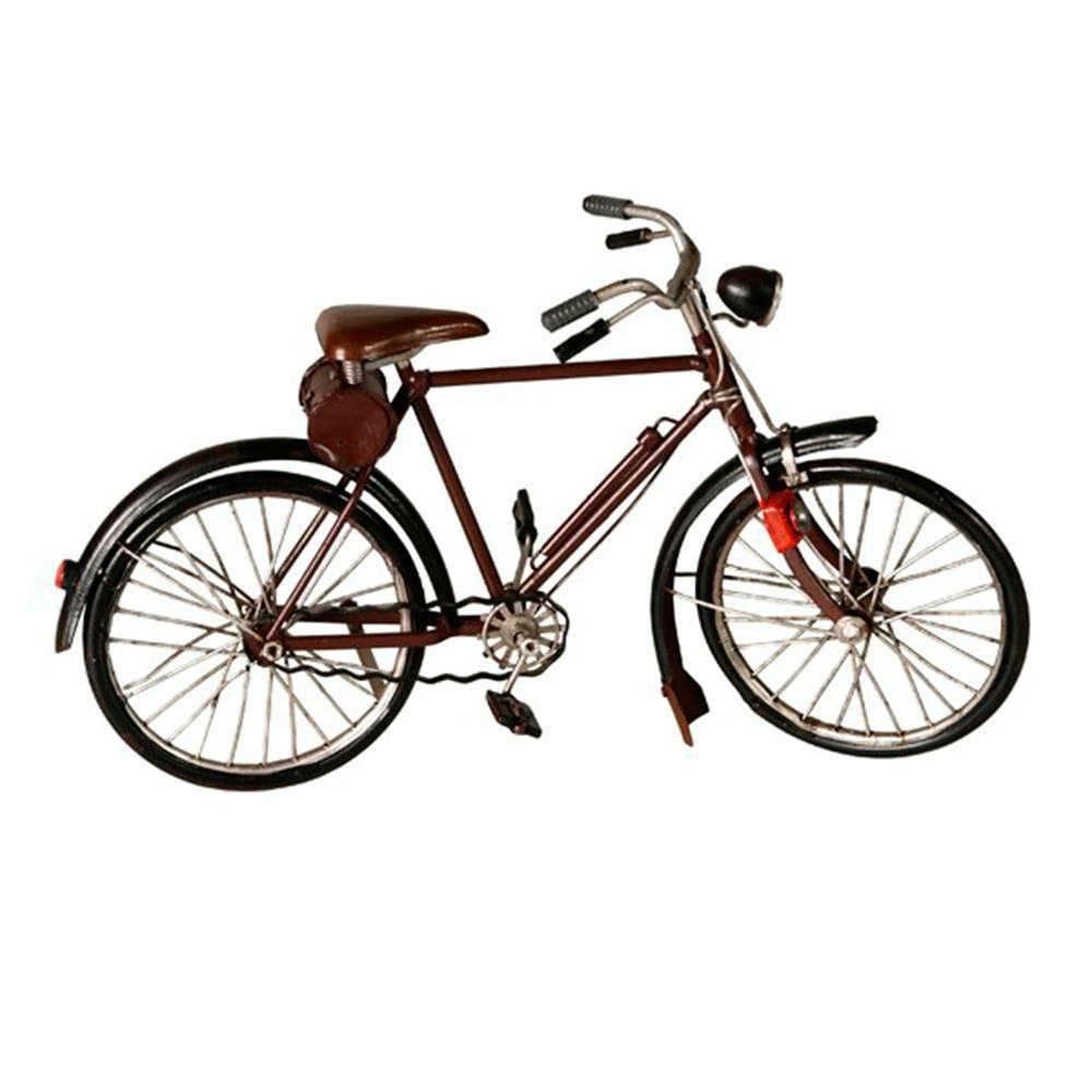 Miniatura de Bicicleta Clássica Marrom em Metal - 29x17 cm
