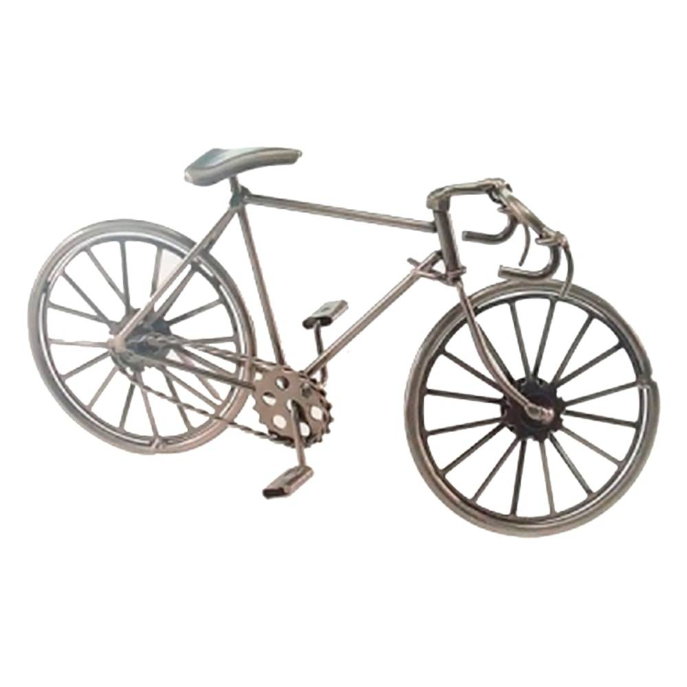 Miniatura Bicicleta de Corrida Prata em Metal - 23x12 cm