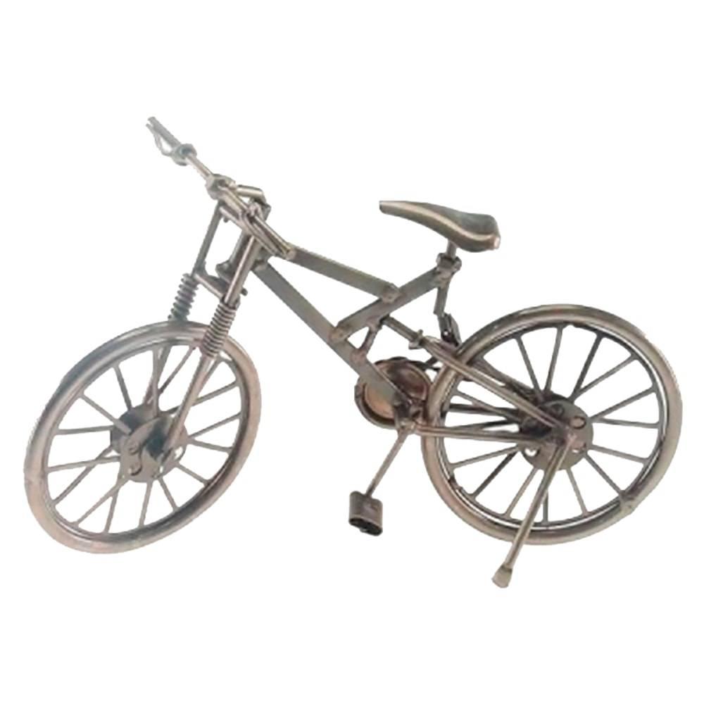 Miniatura de Bicicleta Cross Prata em Metal - 23x12 cm
