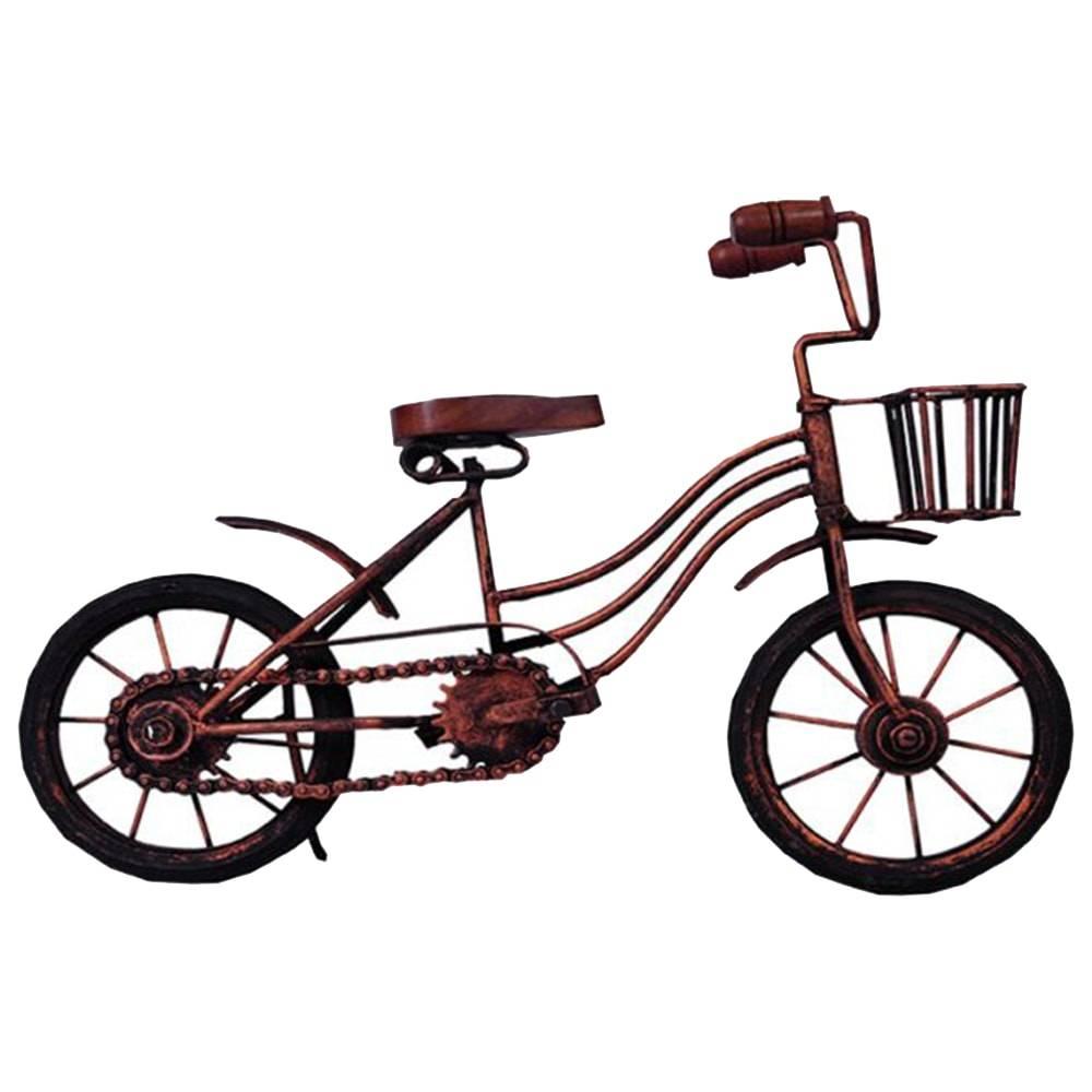 Miniatura de Bicicleta Indiana com Cestinha Dourada em Metal - 34x24 cm